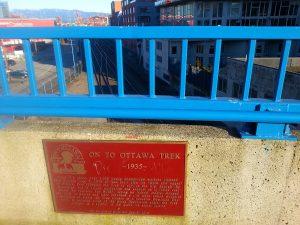 On to Ottawa Trek Plaque on Main Street Railway Overpass
