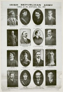 Illustrated poster of some of the most well-known participants in the 1916 Rising. Many of these images were also individually printed and sold as postcards at the time. All but three shown here died in the Easter Rising, or were executed shortly thereafter.