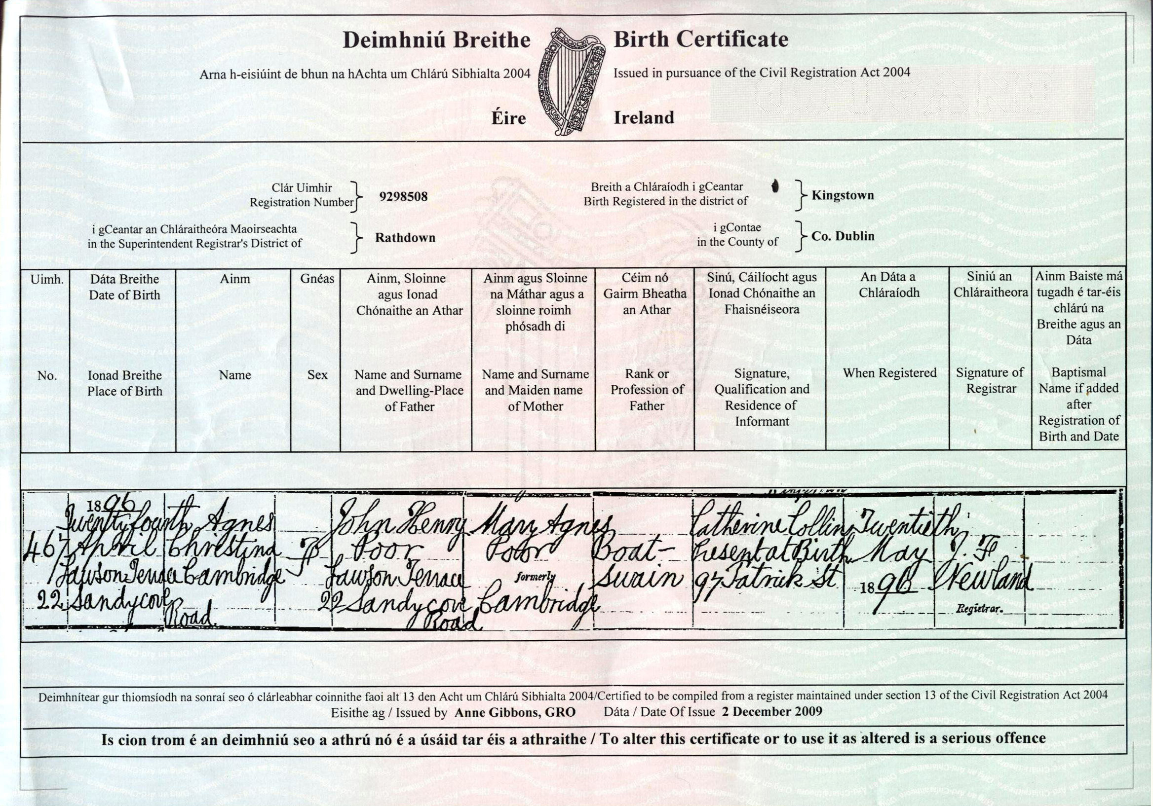 Irish history agnes christiana poor birth certificate 1896 aiddatafo Image collections