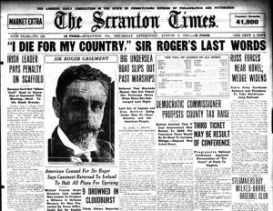 Roger Casement The Scranton Times , Scranton, PA,  August 3, 1916