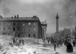 The burnt out shell of the GPO, the rebel headquarters, after the Rising