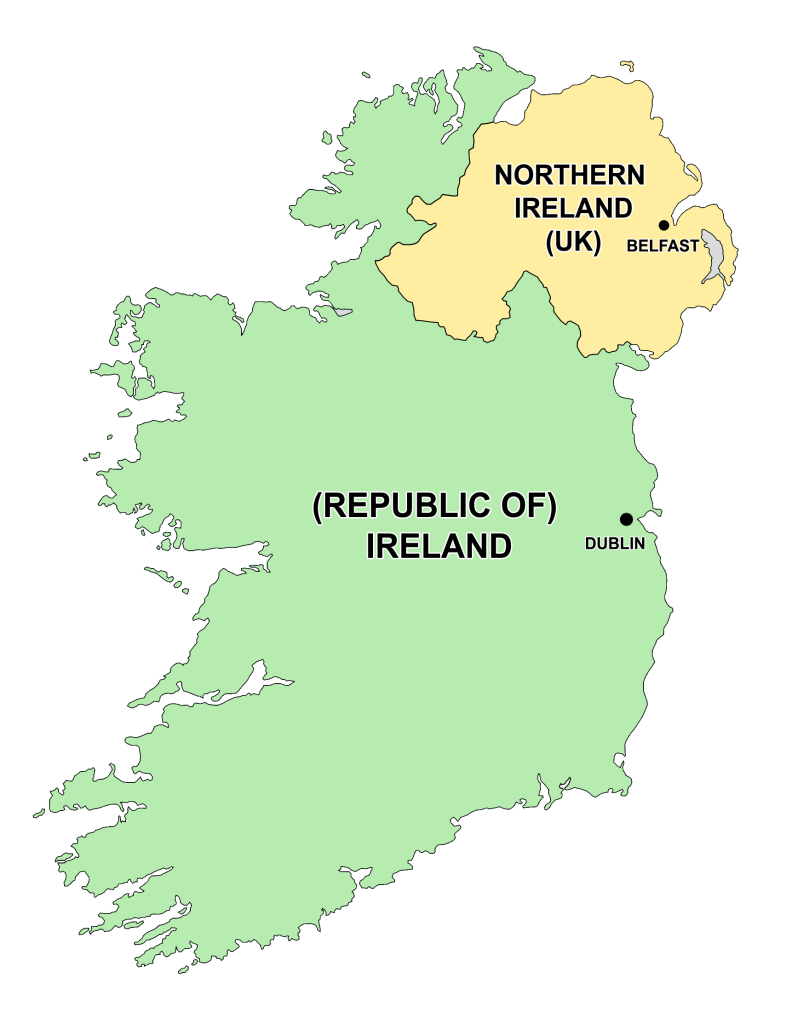 Map with Capitals of Ireland