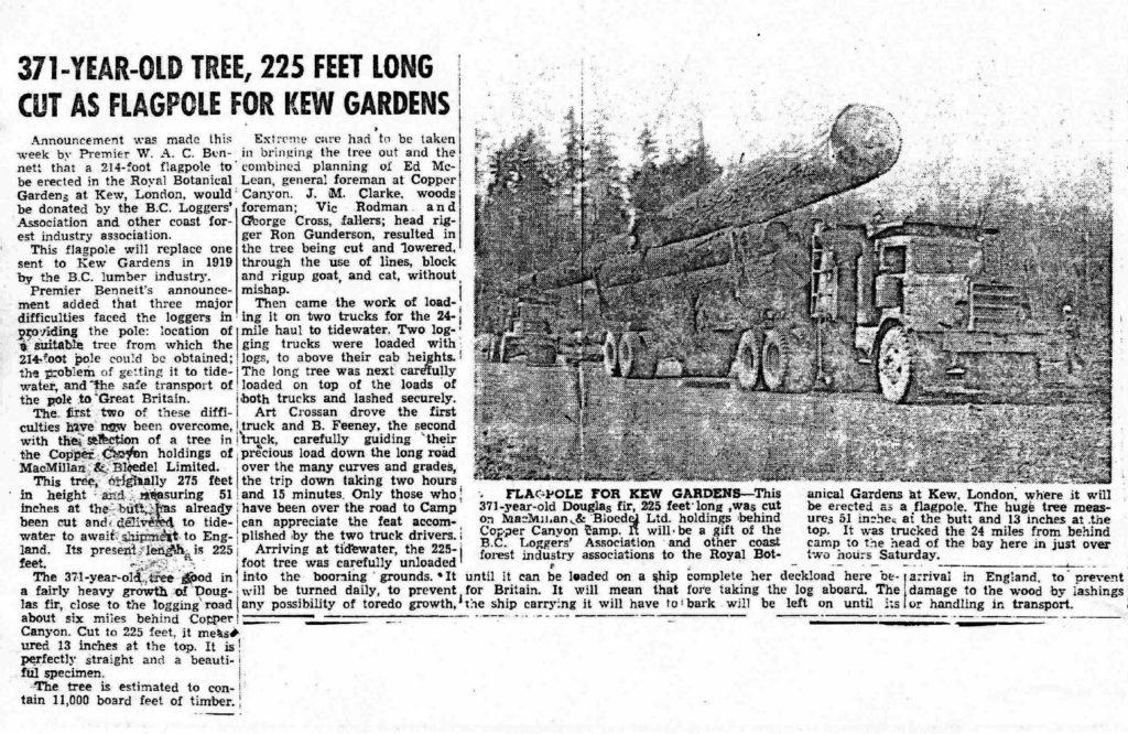 Kew Gardens Flagpole Newspaper Clipping from John Ulinder Collection