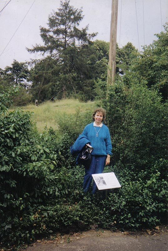 My mother at the Kew Gardens Flagpole 1991