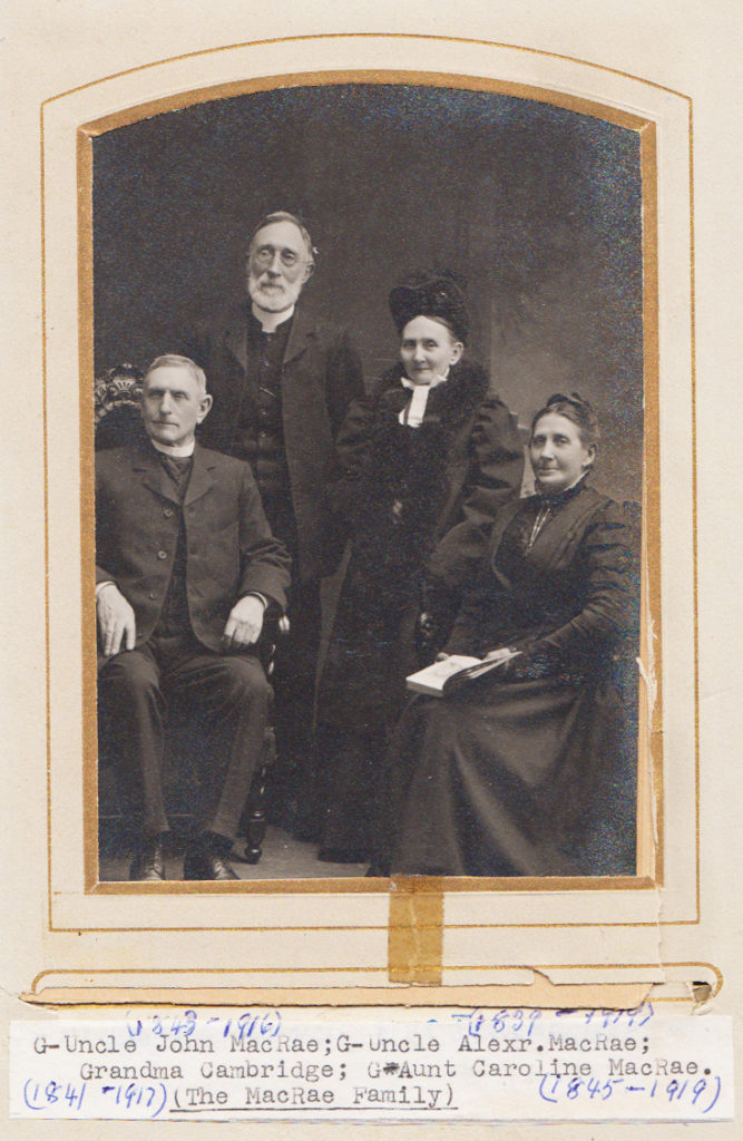 THE MACRAE FAMILY Christy Ann McRae (Cambridge) 2nd great grandmother with 3 of her siblings; John, Alexander and Caroline