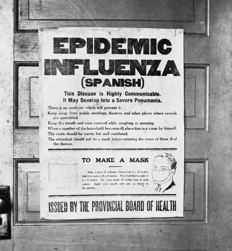 1918 influenza epidemic poster issued by the Board of Health in Alberta, Canada.