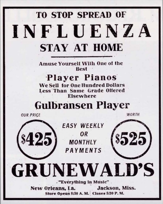 Stop the Pandemic -Stay at Home with your Player Piano -Grunewald's Ad New Orleans, 1918
