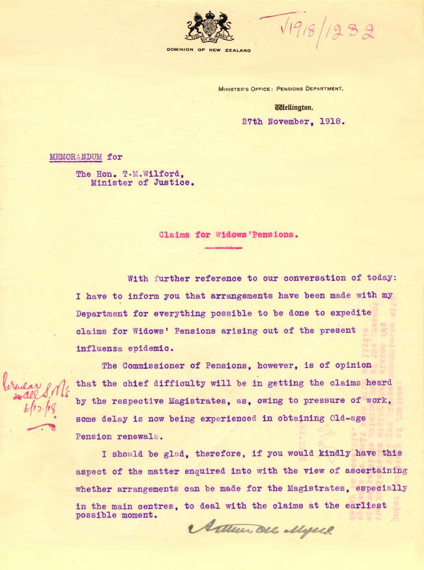 [File:From Hon. Minister in Charge of Pensions, Wellington 1918. Subject That claims for widows' pensions arising out of Influenza epidemic be dealt with without delay (Page 3).jpg|thumb|From Hon. Minister in Charge of Pensions, Wellington 1918. Subject That claims for widows' pensions arising out of Influenza epidemic be dealt with without delay (Page 3)]]