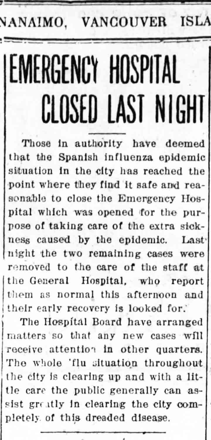Emergency Hospital Closed Last Night Nanaimo Daily News December 5, 1918