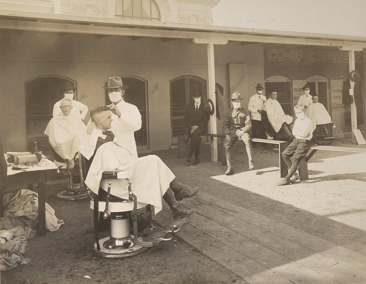 The University of California, Berkeley, California<br Open-air barbershop during the influenza epidemic