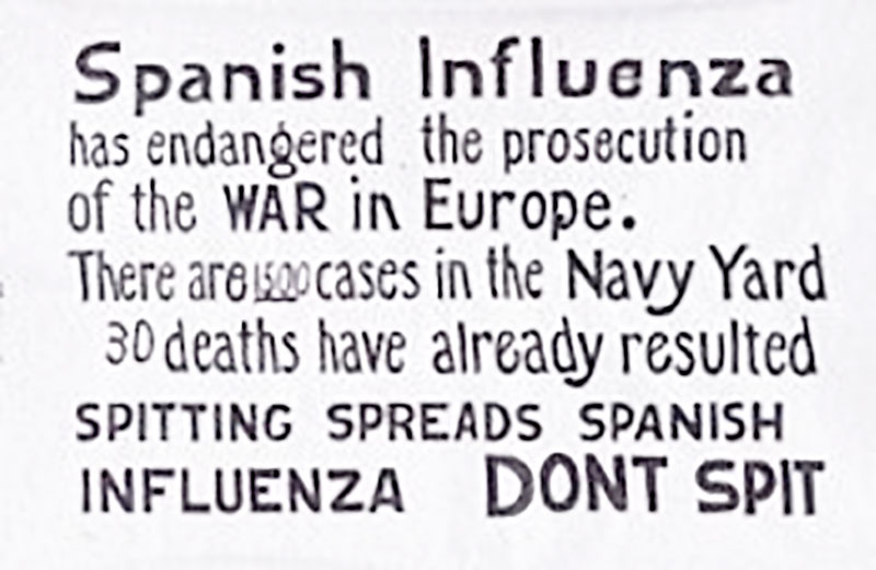 There are 1500 cases in the Navy Yard<br>30 deaths have already resulted <br>Spanish Influenza sign in the Navy Yard in 1918<br /> U.S. Navy / Public domain