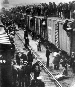 Strikers boarding Train in Calgary 1935