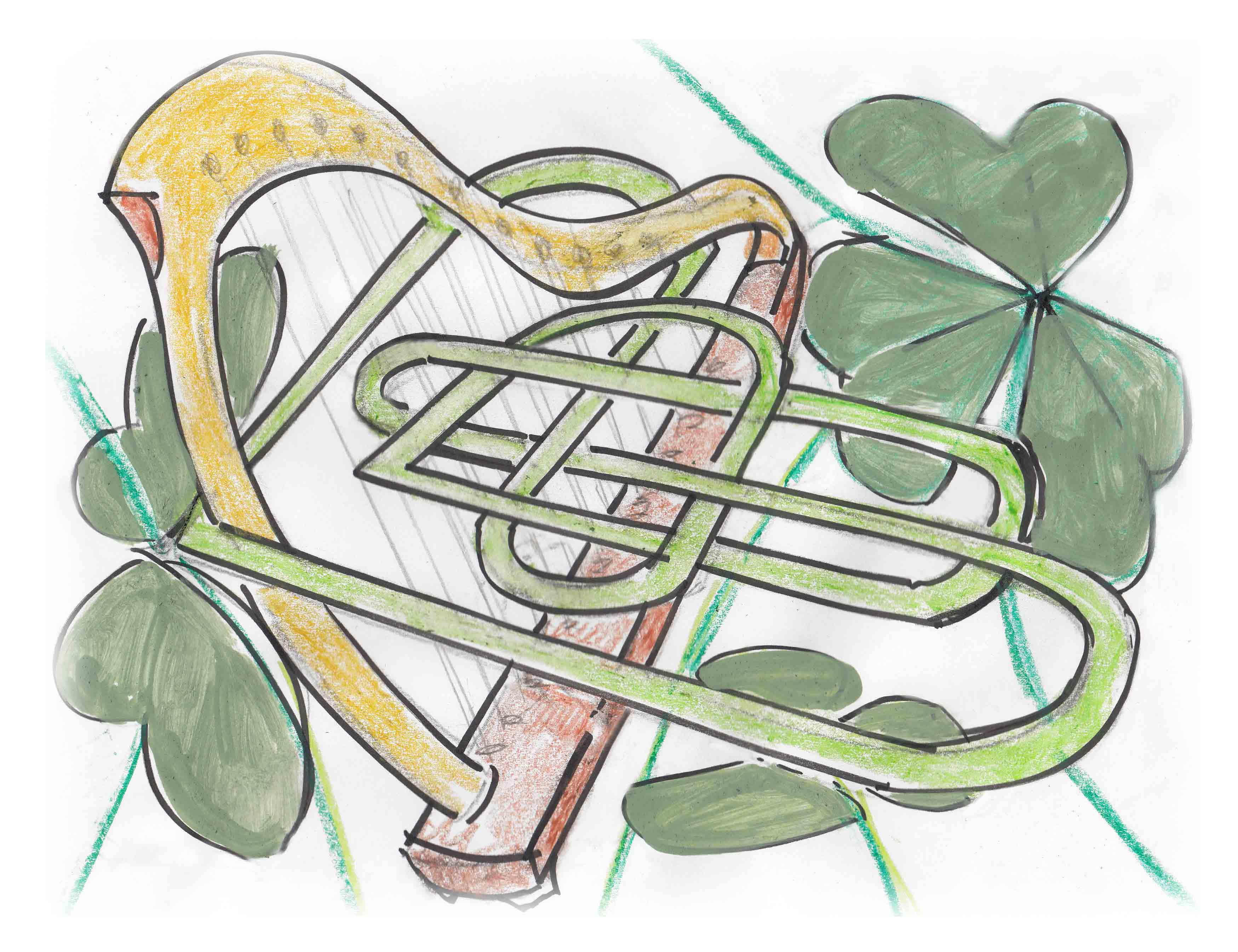 Harp and Shamrock Sketch by Marian Androne